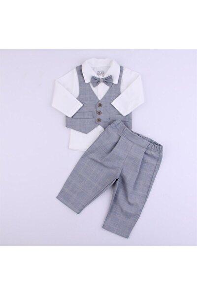 Erkek Bebek Gri Kareli Yelekli Takım