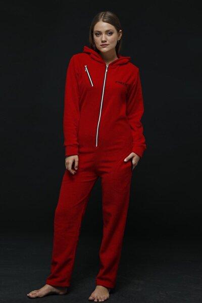Kırmızı Kadın Polar Peluş Tulum Pijama Takımı