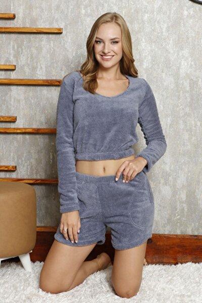 Bustiyerli Şortlu Peluş Pijama Takımı