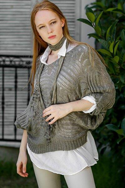 Kadın Vizon Italyan Yarasa Kol Triko Kazak Ve Yakalı Bluz Ve Fular Üçlü Set