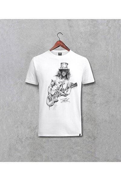 Unisex Beyaz Guns N Roses Slash Baskılı Tasarım Tişört