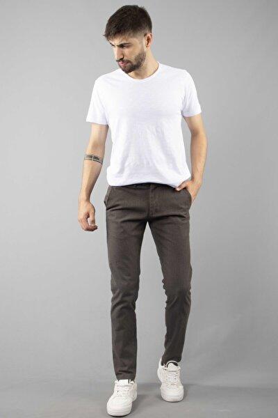 Erkek Haki Yan Cepli Kumaşı İnce Kareli Slim Fit Pantolon