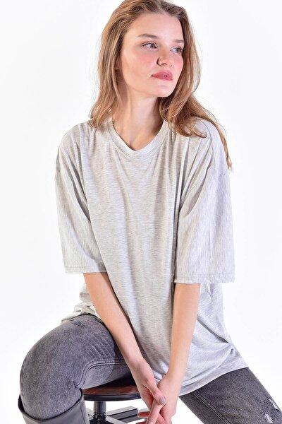 Kadın Kar Melanj Oversize Tişört