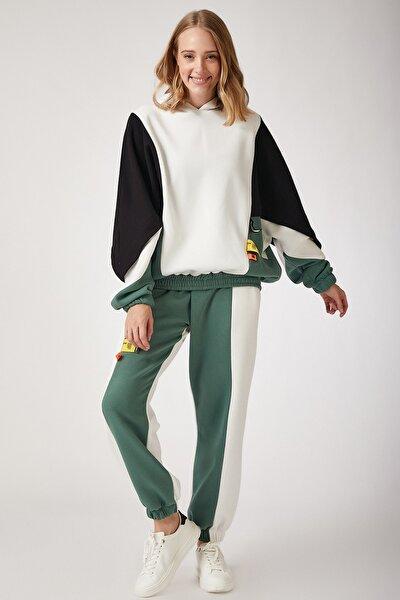 Kadın Çağla Yeşili Blok Renkli Polarlı Eşofman Takımı CI00006