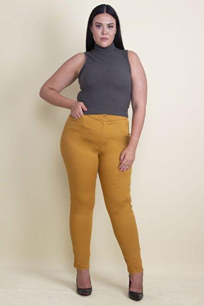 Kadın Hardal Pamuklu Kumaş Likralı Pantolon 65N17898
