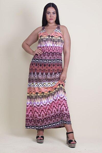 Kadın Renkli Beli Gipe Lastikli Sırtı Açık Renkli Uzun Elbise 65N17923
