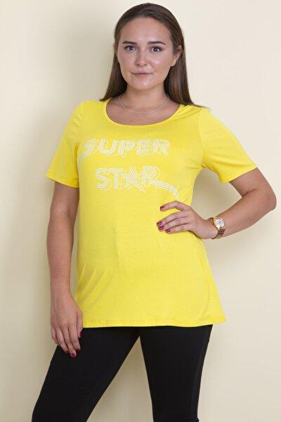 Kadın Sarı Taş İşli Viskon Bluz 65N17854