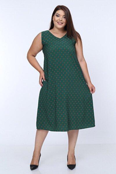 Kadın Yeşil Kolsuz V Yaka Astarlı Elbise 65N18025