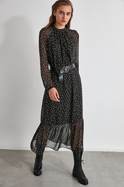 Siyah Kemerli Puantiyeli Elbise TWOSS20EL0982