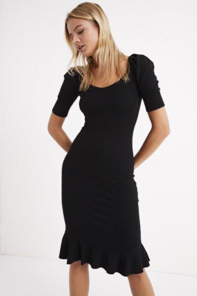 Kadın Siyah Eteği Volanlı Balon Kol Kaşkorse Maxi Elbise Yİ1896