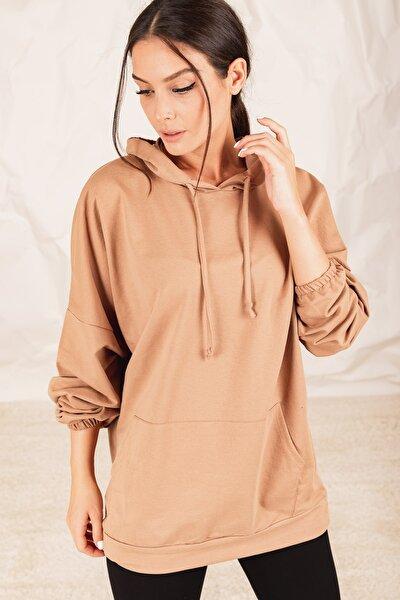Kadın Vizon Kapüşonlu Cepli Sweatshirt Arm-21K024027
