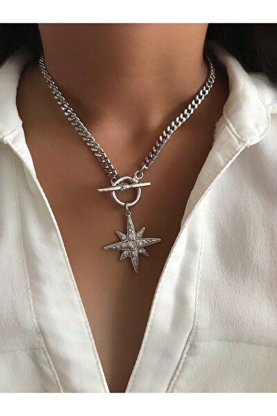 Zirkon Gömme Taşlı Şimal Yıldızı Kolye,gümüş