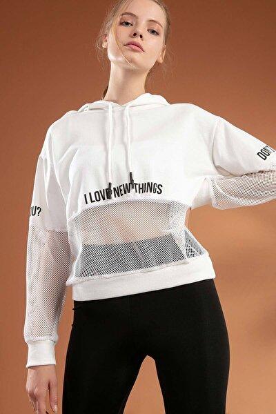 Kadın File Detaylı Kapşonlu Sweatshirt Y20w166-3847
