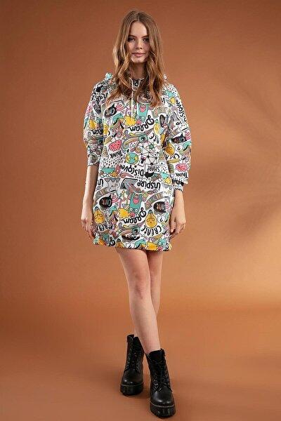 Kadın Beyaz Grafik Desenli Kapşonlu Oversize Elbise Sweatshirt Y20W110-4125