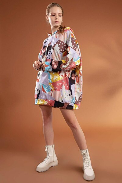 Kadın Lila Baskılı Kapşonlu Oversize Elbise Sweatshirt Y20W110-4125-4