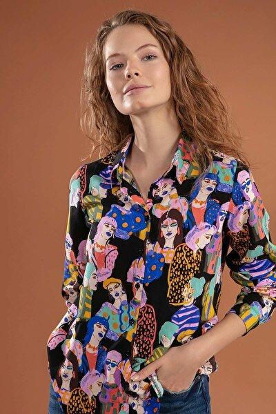 Kadın Siyah Desenli Gömlek Y20W110-3848
