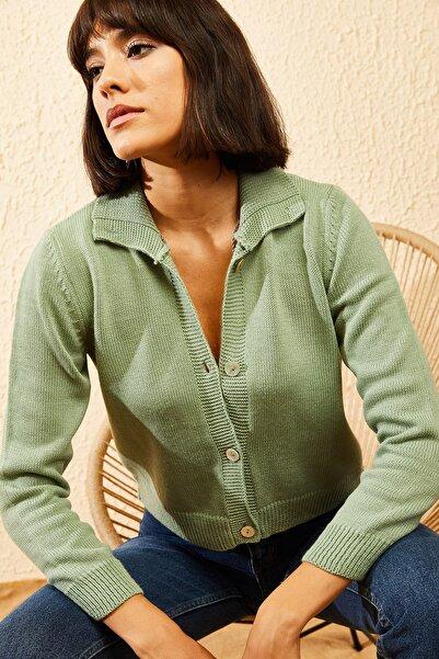 Kadın Çağla Yeşili Balıkçı Yaka Düğmeli Fitilli Hırka 10121003