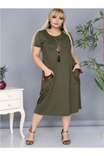 Kadın Haki Cepleri Püsküllü Viskon Likralı Elbise