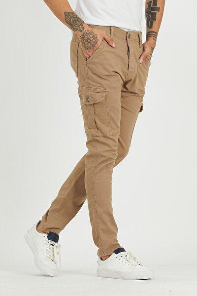 Erkek Kahverengi Kargo Cep Pantolon Camel