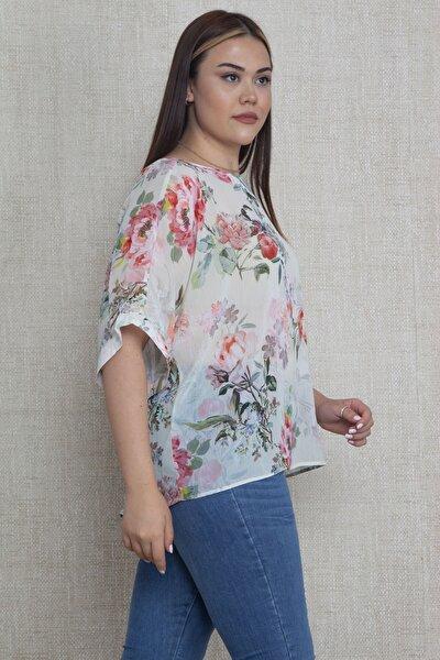 Kadın Çiçek Desenli Yoryo Şifon Bluz