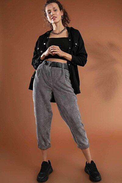 Kadın Gri Yüksek Bel Duble Paça Fitilli Kadife Pantolon 10431 Y19W126-10431