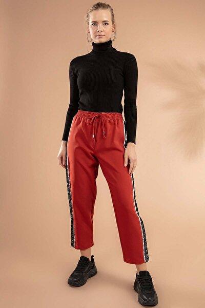 Kadın Kiremit  Beli Lastikli Bağcıklı Yanları Bant Dantel Detaylı Pantolon  Y19W109-39574