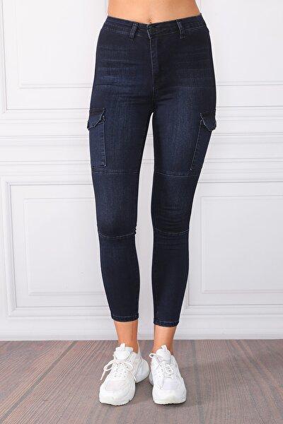 Kadın Lacivert Yüksek Bel Kargo Cepli  Kot Pantolon