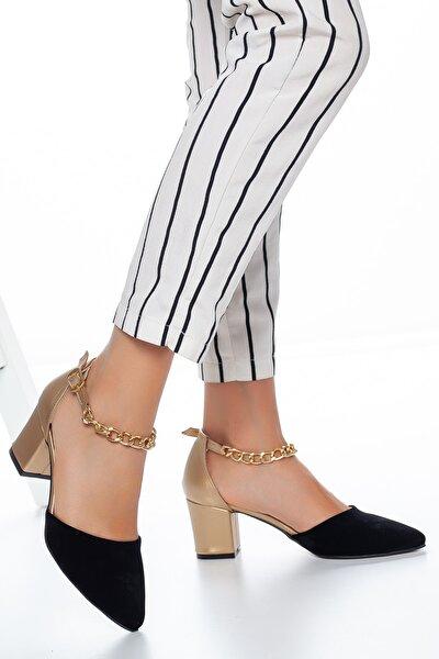 Kadın Siyah Süet Bilekten Zincirli Klasik Topuklu Ayakkabı