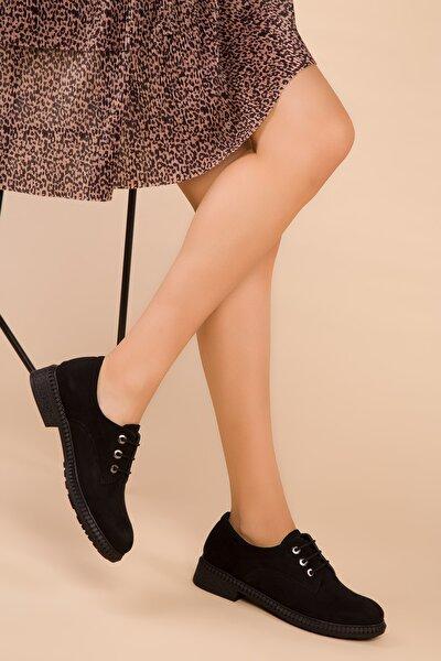 Siyah Süet Kadın Casual Ayakkabı 15397