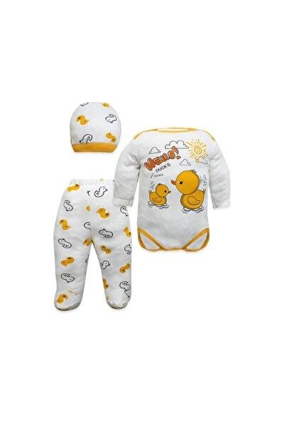 Merhaba Ördek Yazılı 3 Lü Bebek Takımı K3052