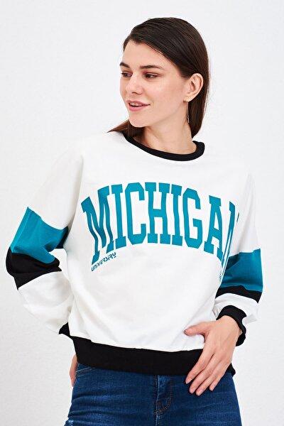 Michigan Baskılı Sweat Beyaz