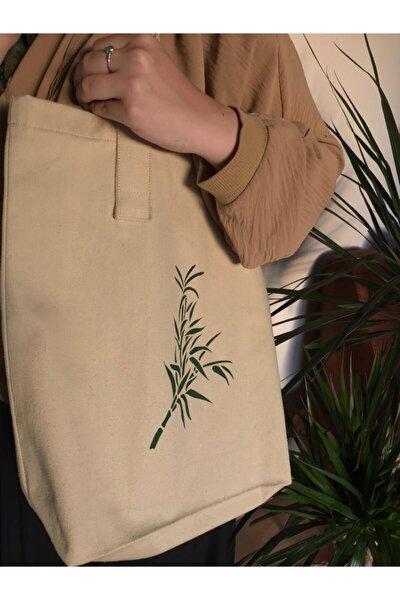 Kadın Bej Bamboo Kanvas Çanta