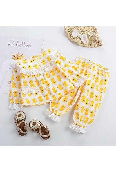 Kız Bebek Ördek Pijama Takımı
