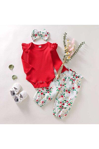 Kız Bebek Kırmızı Çiçek Desenli 3'lü Takım