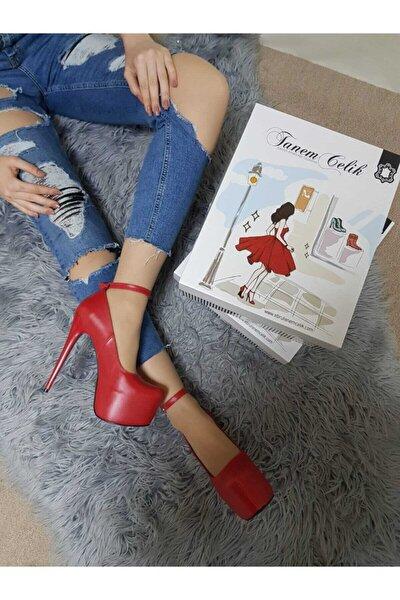 Kadın Kırmızı Deri Platform Topuk Ayakkabı