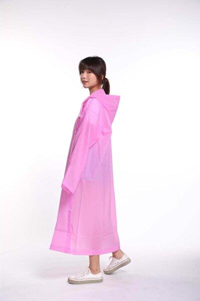 Kadın Pembe  Şeffaf Pembe Su Geçirmez Eva Kumaş Kıyafetüstü Yağmurluk