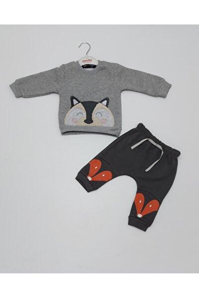 Erkek Bebek Kışlık Üç Iplik Şardonlu Gri Renk Ikili Takım Popolin