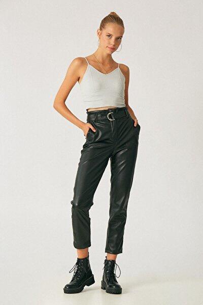Kadın Siyah Kemerli Yüksek Bel Deri Pantolon