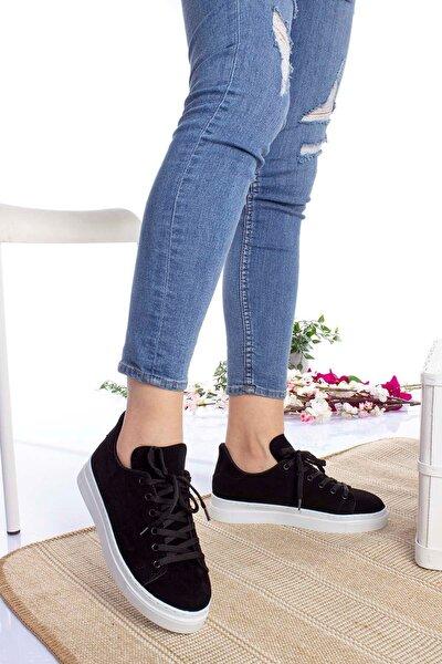 Kadın Siyah Beyaz Taban Süet Spor Ayakkabı