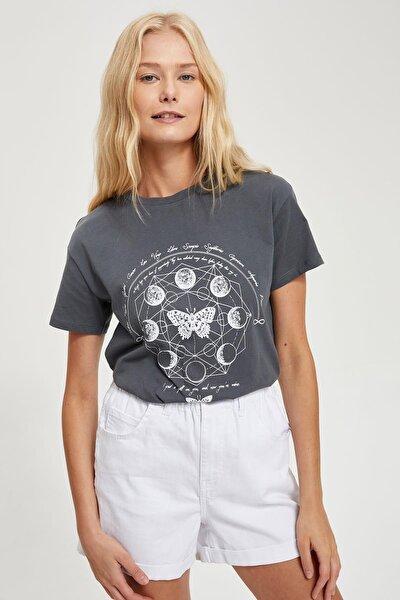 Kadın Anthra Baskılı Kısa Kollu Tişört S8019AZ20HS