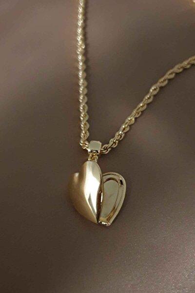 Kadın Gold Kapaklı Kalp Kolye