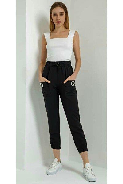 Kadın Siyah Cepleri Kuş Gözlü Pantolon