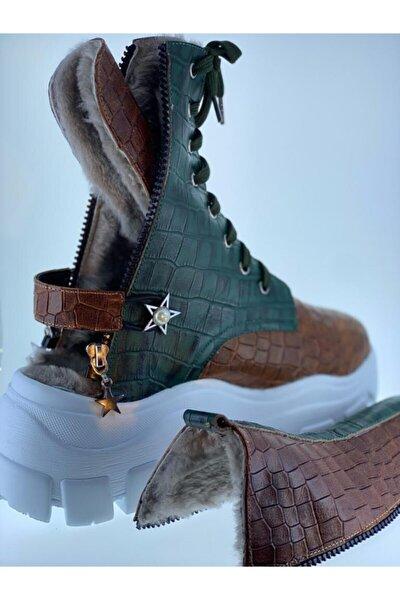 Kadın Bordo Hakiki Deri Kroko Sandalet Bot