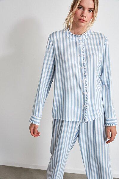 Mavi Çizgili Dokuma Pijama Takımı THMAW21PT0290
