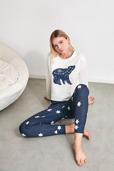 Yıldız Baskılı Örme  Pijama Takımı THMAW21PT0241