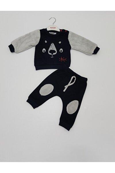 Erkek Siyah Balmastro Kışlık Üç Iplik Şardonlu Ikili Bebek Takım