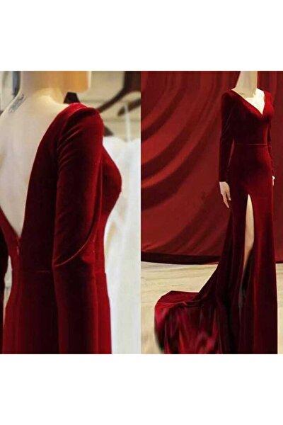 Kadın Bordo Sırt Dekolteli Uzun Kadife Elbise