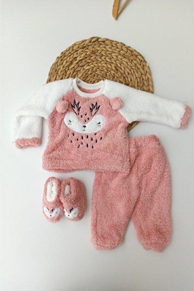 Kız Bebek Pembe Geyik Desenli Kışlık Welsoft Panduflu Lüx Bebek Takımı 6-9-12 Ay