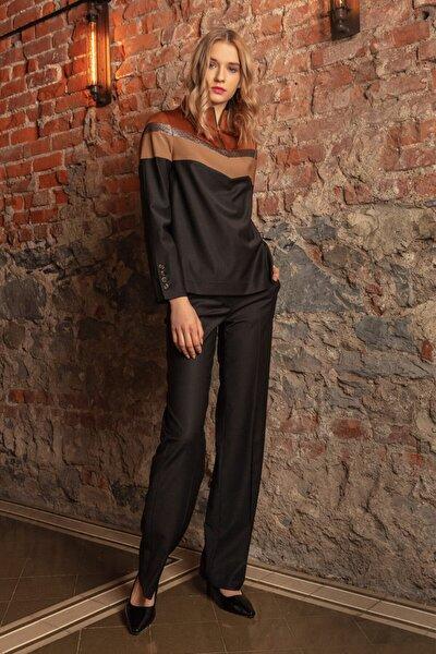 Kadın Siyah Bol Paça Nakış Detaylı Pantolon