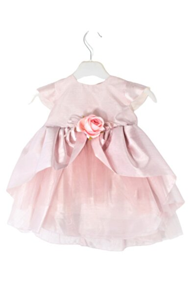 Kız Bebek Somon Tafta Abiye Elbise